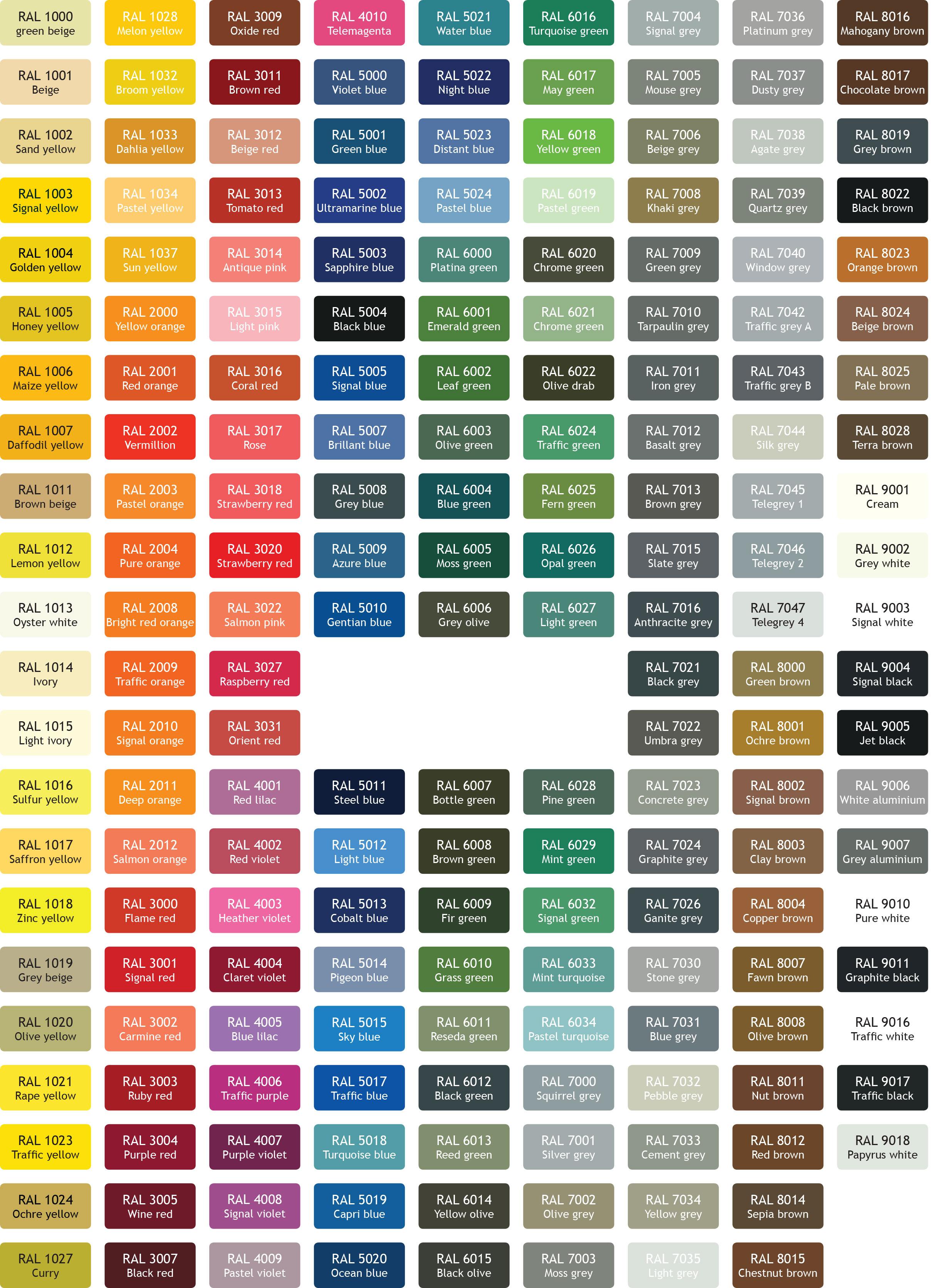 e69757bfb492 Каталог цветов RAL для профнастила, сэндвич панели